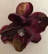 Glittered Velvet Jumbo Magnolia Artificial Flower Hair Clip/Pin Brooch