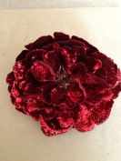 Holiday Shimmer Peony Artificial Flower Hair Clip/Pin Brooch