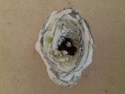 Small Glittered Ranunculus Artificial Flower Hair Clip/Pin Brooch