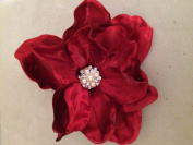 Velvet Jewelled Magnolia Artificial Flower Hair Clip/Pin Brooch