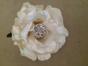 Velvet Jewel Rose Artificial Flower Hair Clip/Pin Brooch