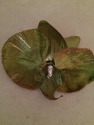 Glittered Velvet Phalaenopsis Orchid Artificial Flower Hair Clip/Pin Brooch