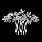 Women Wedding Bridal Rhinestone Hairpin Silver Flower Claw Comb Ornaments Accessory