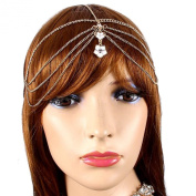 Hair Accessory ~White Flower Goldtone Head Chain Hair Band