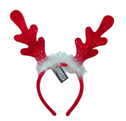 Red Sequin Reindeer Headband with Plush Feathers