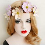 2PC Lovely Girl pink Chrysanthemum Flower Headbands Women Headwear Hair Wedding Bridal Bride Flower Garland Wreath