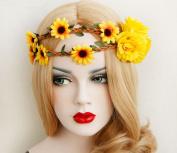 2PC Lovely Girl Chrysanthemum Flower Headbands Women Headwear Hair Wedding Bridal Bride Flower Garland Wreath