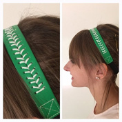 Fabulicious Green White Stitch Leather Headband© - Stitching Seam Sports softball baseball fast pitch