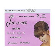 (Ship from USA) Jac-O-Net #156 French Style Invisible Hair Net w/Elastic (2) pcs. Dark Brown