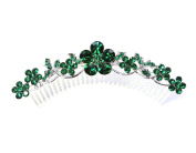 Faship Emerald Colour Green Hair Comb Crystal Floral