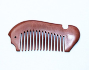 YK Care® No Static Fish Shaped Ebony Wood Sandalwood Wide Tooth Comb