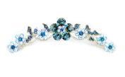 Faship Navy Blue Hair Comb Crystal Floral