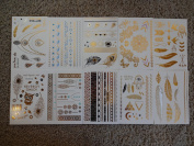 10 Premium Sheets of Metallic Gold, Silver, Turquoise and Multi-colour Temporary Flash Tattoos for Women & Girls - Over 120+ Tattoos - Waterproof Trending Top Fashion Accessory ...