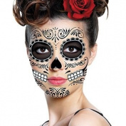 Sugar Skull Temporary Face Tattoo - All Black - Day of the Dead - Calavera - Halloween Costume