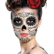 Sugar Skull Temporary Face Tattoo - All Black - Day of the Dead - Calavera - Halloween Costume