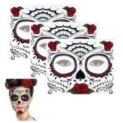 Sugar Skull Temporary Tattoo Rose Design