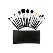 AMarkUp 15 Pcs Professional Synthetic Makeup Brushes Cosmetic Foundation Blending Make Up Brush Sets & Kits Black With Bag