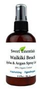 Waikiki Beach Spray Lotion - With Jojoba and Argan Oil - 89% Organic - 120ml Spray Bottle - Silky Skin Soften Formula - Beautiful Island Gardenia and Jasmine Scent