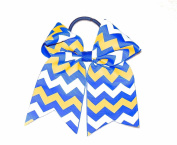 Competition Cheer Hair Bow Royal Blue, Gold, White Chevron 14cm Pony Tail Holder Accessory