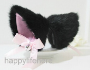 Hot Sweet Lovely Anime Lolita Cosplay Fancy Neko Cat Ears Hair Clip Black with Bell