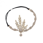 Babeyond® Art Deco 1920's Flapper Great Gatsby Inspired Leaf Medallion Pearl Headpiece Headband Golden