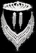 Rhinstone Crystal Wedding Bridal Prom Princess Tiara Crown 5 Necklace Stud Earrings Sets