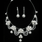 Joylive Silver Rhinestone Crystal Pearl Necklace Earrings Jewellery Set for Wedding