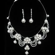 Joylive Silver Rhinestone Crystal Pearl Necklace Earrings Jewellery Set for Wedding