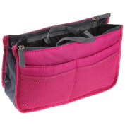 LEFV™ Purse Perfector Insert Organiser Nappy Bag Expandable 13 Pockets Compartments Handbag Liner Travel Smart Cosmetic Gadget Hand Pouch Organiser with Handles Hot Pink