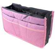 LEFV™ Purse Perfector Insert Organiser Nappy Bag Expandable 13 Pockets Compartments Handbag Liner Travel Smart Cosmetic Gadget Hand Pouch Organiser with Handles Pink