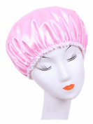 Moolecole Women's Waterproof Double Layer Shower Cap Elastic Band Shower Hat Spa Bathing Cap Pink