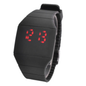 Magic Hidden Touch Screen Red LED Digital Watch Men Women Sport Cuff Wrist Watch Black