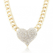Doinshop Ladies 3d Heart Pendant Chain Necklace with a 41cm Adjustable Link Jewellery
