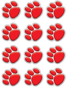 Teacher Created Resources Mini Accents, Red Paw Prints