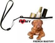 Rikki KnightTM I Love My French Mastiff Dog Design Keys Coins Cards Cosmetic Mini Clutch Wristlet