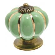 Housweety 1pcs Classic Ceramic Pumpkin Shape Cartoon Cherry Cabinet Knob Drawer Pull Handle Kitchen