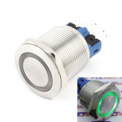 WerFamily 22mm Angel Eye Green LED Waterproof Stainless Steel Round Metal Self-locking Latching Push Button Switch 1NO 1NC