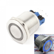 WerFamily 22mm Angel Eye Blue LED Waterproof Stainless Steel Round Metal Self-locking Latching Push Button Switch 1NO 1NC