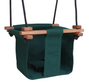 Baby KEA Swing, Forest Green Indoor or Outdoor Wood, Rope, Canvas Swing For Baby and Toddler 6-36 Months