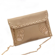 Aisa New Fashion Envelope Clutch Bag Skull Rivet Decor Shoulder Crossbody Bag