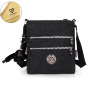 Tiny Chou (TM) Multilayer Zipper Pockets Water Resistant Nylon Fabric Crossbody Bag Shoulder Bag for Girl