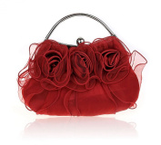 Rose Blossom Clasp Closure Soft Clutch Evening Hand Bag Wedding Party Purse Wallet Handbag