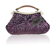 Luxury Sequins Beaded Peacock Ring Evening Bag Wedding Bridal Party Handbag for Women