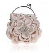 Floral Embellish Women's Satin Pleated Flower Front Evening Bag Clutch Handbag