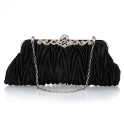 Womens Vintage Satin Pleated Envelope Evening Bridal Clutch Purse Handbag Clutch