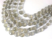 "1 Strand Natural Light Grey Moonstone Faceted Heart Shape Briolette Beads 6x6-12x12mm Gemstone Beads,7"" Long Strand"