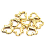 So Beauty 8 Pcs 2.5*2.2cm Gold Tone Stainless Steel Heart Shaped Lobster Clasps for Necklace DIY Making