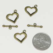 5 Sets x Heart Love Toggle Clasp Connector Beads 16x15mm Antique Bronze Tone for Charms Bracelet Necklace Jewellery findings #MCZ475