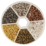 PandaHall Elite 1 Box 6 Colours 3300 Pcs Iron Plated Jump Rings Unsoldered 4mm Diameter Jewellery Making Findings