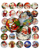 60 Precut 2.5cm CHRISTMAS VINTAGE SANTA CLAUS Bottle Cap Images A